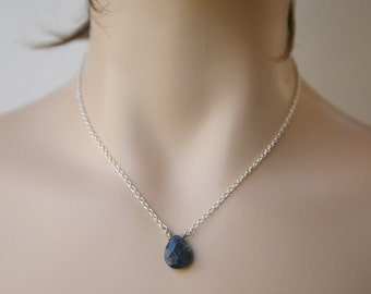 Dainty and Simple Denim Blue Sodalite Teardrop Briolette Necklace