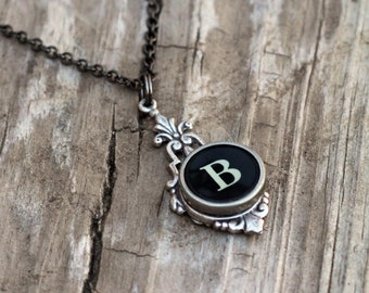 Letter B  Vintage Typewriter Key  Drop Necklace