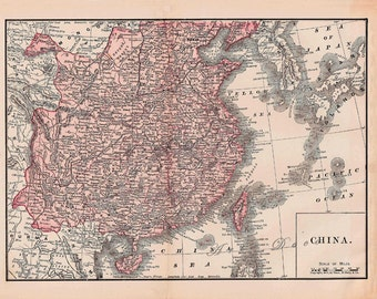 vintage map of China from 1891, a printable digital map no.  254