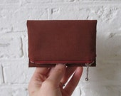 Rust Brown Forester card wallet, small canvas pocket size wallet, ready to ship