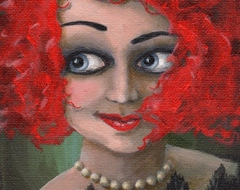 She Keeps Ravens ...  Original painting 5 x 7 unframed