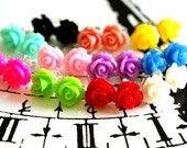 Clearance 10 Pairs Mix Color Rose Flower Earrings