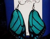 Hand Made Teal Large Monarch  ღ Butterfly Wing Earrings