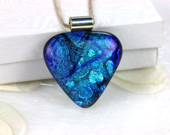 Ripple Wedge Dichroic Fused Glass Pendant Necklace Jewelry Fused Glass Pendant Dichroic Silver Necklace 001166