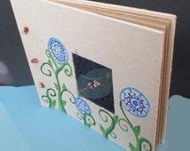 Recycled Paper Book - Blue Garden Flowers - Journal, photo album, wedding guest book, scrapbook