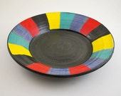Large Colorful Plate Wheel Thrown Stoneware Pottery