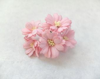 5 40mm pink mulberry paper gerbera - paper flowers