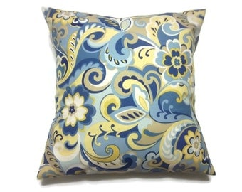Decorative Pillow Cover Paisley Design Cadet Blue Powder Blue Yellow White Taupe Same Fabric Front/Back Toss Throw Accent 18x18 inch x