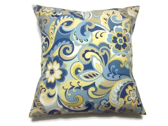Powder Blue Decorative Pillows : Decorative Pillow Cover Paisley Design Cadet Blue Powder Blue