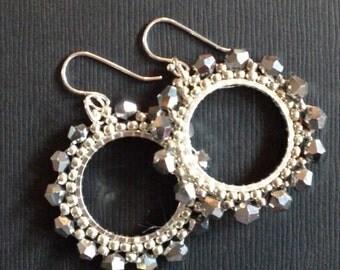 Small Hoop Earrings Silver Crystal Goddess Seed Bead Earrings Crystal Beaded Jewelry