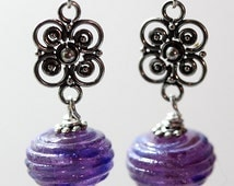 IMJ Glow-in-the-Dark Purple Lampwork and Sterling Silver Filigree Dangle Earrings with Swarovski Crystal