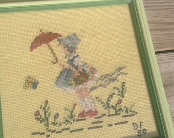 Vintage needlepoint framed embroidery picture little girl umbrella musician petit point child hand stitched nursery decor cottage chic