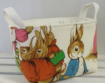 Storage and Organization  - Peter Rabbit Fabric - Vintage Beatrix Potter Fabric - Fabric Organizer Bin Storage Container Basket