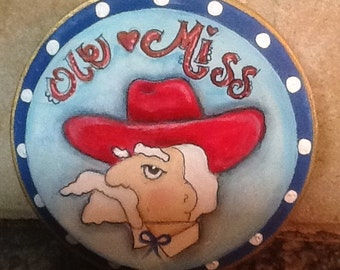 Ole Miss Rebel Hotty Toddy  round wood painting....5 inch circle Ooak, Original wall or desk art