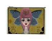 Satin Zippered Bag Big Eyed Ouija Moth Girl by Megan Besmirched