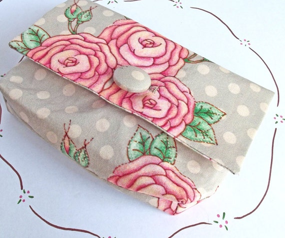 small clutch purse Etsy pink roses grey polkdot