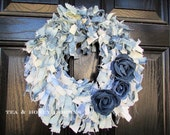 Denim Rag Wreath Flowers Rustic Decor Upcycled Round 16""