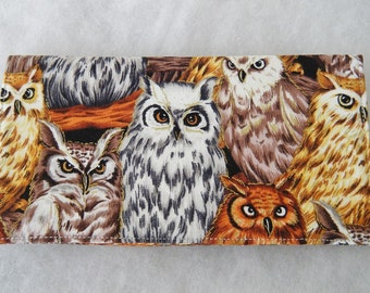 Checkbook Cover - Owls