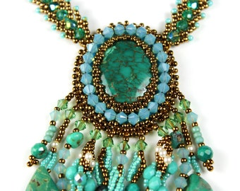 Turquoise Fringe Necklace - Intricate Beaded Embroidery Chunky Bib Statement Jewelry
