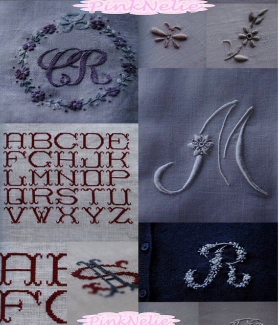 Initial and monogram embroidery craft book from