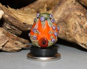 Lampwork Glass Pumpkin Fairy House, Purple, Orange