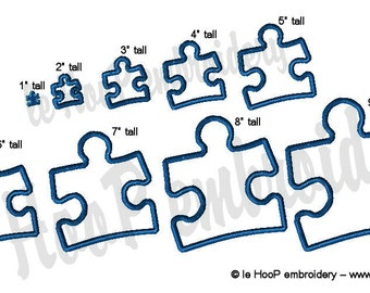 PUZZLE Piece Machine Applique Embroidery design 9 sizes Autism Awareness Speaks Aspbergers