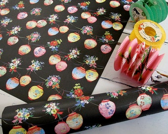 5 sheets of black lanterns wrapping paper