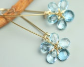 Sky Blue Topaz Flower Earrings . Long Flower Dangle Earrings .