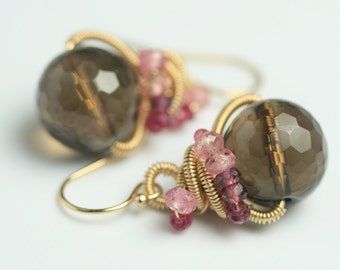 Faceted Smoky Quartz Dangle Pink Tourmaline Gold Fill Wire Wrapped Earring