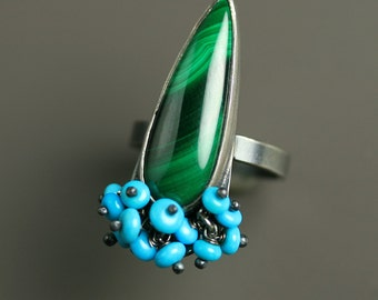 Malachite Statement Ring with Sleeping Beauty Turquoise Fringe, US size 6.25