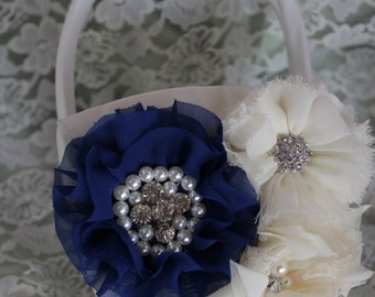 Cream/ White Flower Girl Basket Royal Blue Layered Flower,Ruffled  Chiffon Flowers all with Rhinestones and Pearls-Age Toddler-4