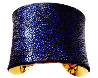 Stingray Leather Gold Cuff Bracelet in Metallic Sapphire Blue - by UNEARTHED