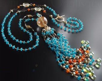 Custom Made to Order - Art Nouveau Tassel Necklace with Apatite, Carnelian, Green Garnet, Citrine, and Pyrite