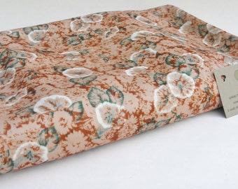Vintage Fabric, Rusted Flowers, Reclaimed Polyester, Orange and Green, Recycled Cloth, Eco Friendly, Uncut Yardage, 75 by 60 inches