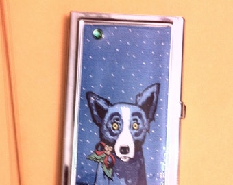 BLUE DOG Snowflake Business Card Holder Credit Card Case