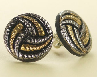 Vintage Black with Silver and Gold Czech Glass Post Earrings - Limited