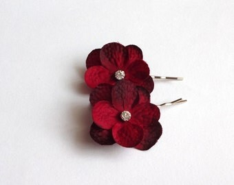 Dark Red Hydrangea Flowers Hair Pins, Shoe Clips, Baby Snap Clips