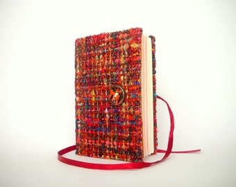 Writing journal notebook diary Handmade journals red colorful raw wool crochet cover Orange ceramic button, A5 with lined paper for writing