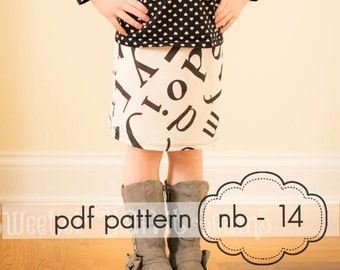 Girls Knit Pencil Skirt - INSTANT DOWNLOAD - nb through 14 + doll - pdf sewing pattern
