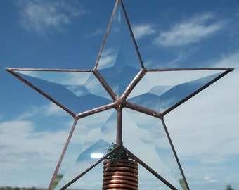 Six Inch Star Tree Topper, Small Table Top Bush Topper, Rustic Holiday Decoration, Simple Beveled Glass Christmas Star
