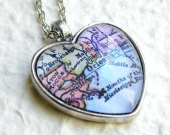 New Orleans Map Necklace - Choose your favorite map from 30 map choices