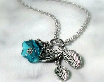 Teal Glass Flower & Leaf Necklace, Antique Silver 3 Leaf Pendant, Matte Silver Rollo Chain, Floral Pendant, Handmade Woodland Jewelry