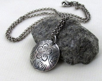Antique Silver Floral Disc Necklace, Etched Dome Pendant, Matte Satin Rolo Necklace... Minimalist Jewelry Gift for Her