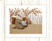 badger art print -- The Bookish Forest: Badger - forest nursery art illustration nursery print cute and whimsical woodland forest