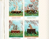 Personalized Bookplates - Woodland Friends - Set of 18 - childrens bookplates squirrel bunny chipmunk raccoon forest woods sticker label