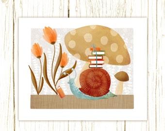 snail art print -- The Bookish Forest: Snail - childrens art illustration nursery print cute and whimsical woodland forest nursery art