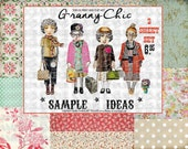 ART TEA LIFE Granny Chic Collage 2 Sheet Set Paper Doll Parts digital file altered art scrapbook journal page decoupage clip art