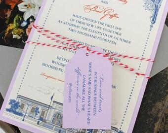Custom Illustration Flat Card Wedding Invitation (Detroit Institute of Arts) - Design Fee