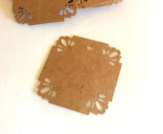Gift tags, sunshine corners, 2.5x2.5, set of 30, wedding favor, business label, kraft tag