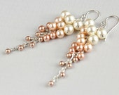 Pink Ombre Fade Earrings with Swarovski Pearls and Sterling Silver